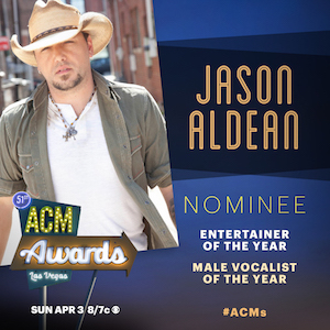 JASON ALDEAN NOMINATED FOR 2 ACM AWARDS