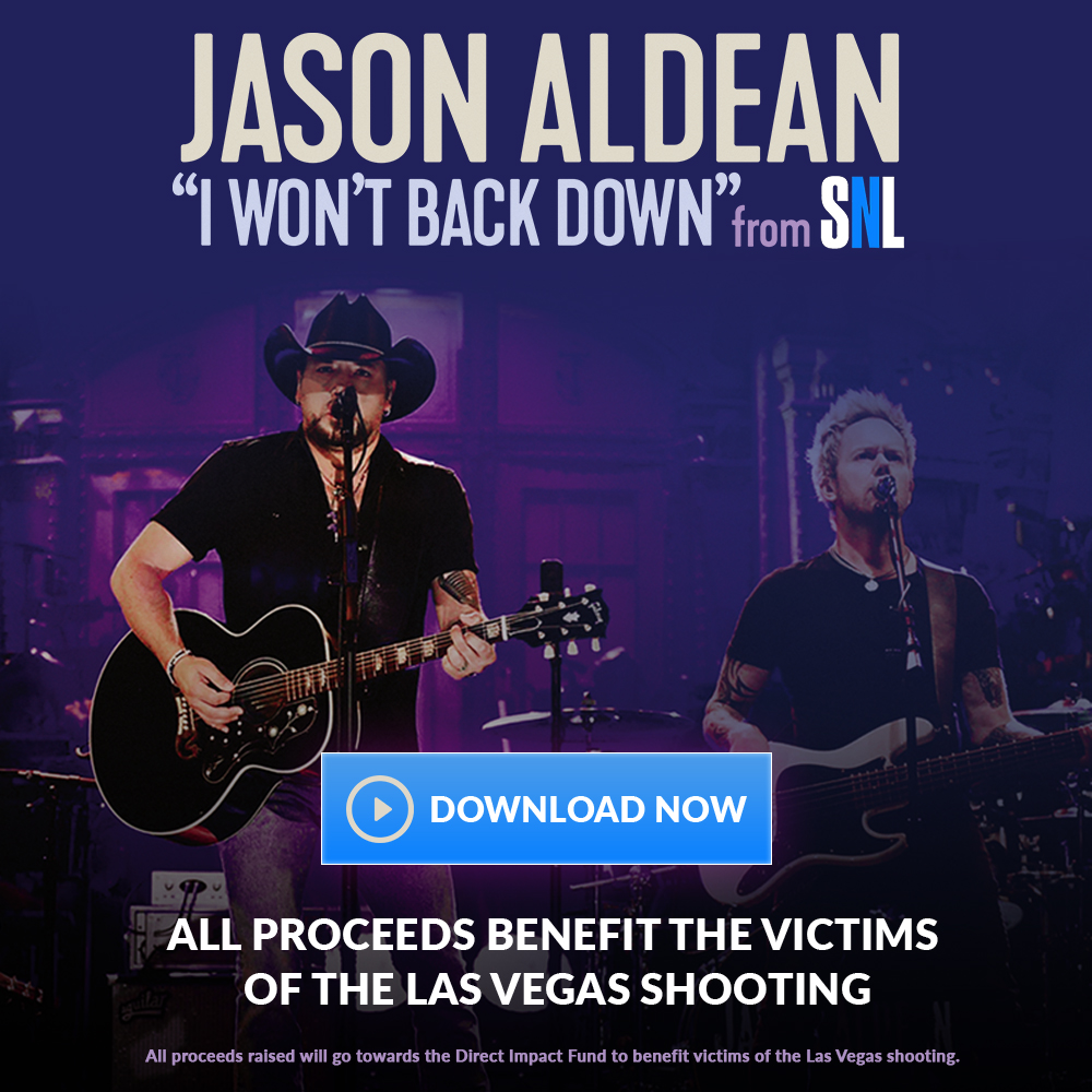 "JASON ALDEAN RELEASES ""I WON'T BACK DOWN"" PERFORMANCE FROM SNL TO RAISE FUNDS FOR LAS VEGAS VICTIMS"